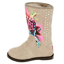 Ed Hardy Grey Bootstrap Boots for Kids Girls- Grey