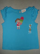Gymboree ICE CREAM SWEETIE Blue Pink Girl Stacked Cone Tee Top Ruffle Shirt NWT