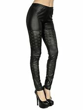 Womens Stretch Black Faux Leather Tights Club Leggings Pants floral Cyber Monday