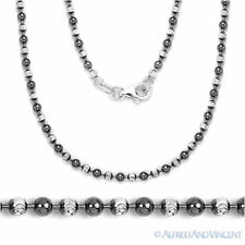 Black Rhodium Sterling Silver Ball Bead Link Chain Long Necklace - Italian Italy
