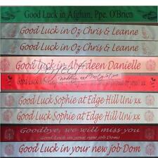 Personalised Good Luck Polyester Ribbon Party Banner 1 Metre Long
