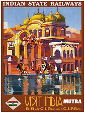 314.Art Decoration POSTER.Graphics to decorate.Visit India.State Railways.Travel
