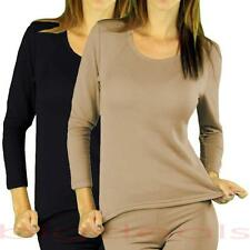 Fleece Lined Thermal Top Shirt Long Sleeve Stretchy Crew Neck Winter Warm 224