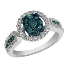 1.03 Ct Round Blue and White Diamond Solid 14K White Gold Fashion Rings Size 5-9