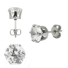 316L Surgical Stainless Steel HypoAllergenic Round Cz Stud Earrings 3 4 5 6 7mm