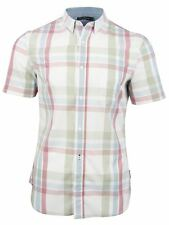 French Connection FCUK Mens Check Shirt Stoked Cotton Short Sleeved