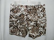 NWT! $59 JONES NEW YORK BROWN & White Shorts Tropical African Leaf Hawaiian Tiki