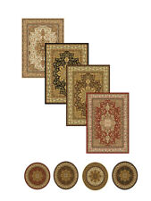 ORIENTAL BLACK BROWN IVORY RED PERSIAN MEDALLION AREA RUG BORDER RUNNER CARPET