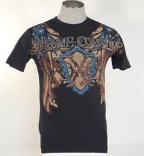 Xtreme Couture Vintage Tattoo Graphics Black Short Sleeve Tee T Shirt Mens NEW