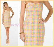 $258 Lilly Pulitzer Bibi Printed Multi Give Me Wings Boucle Strapless Dress