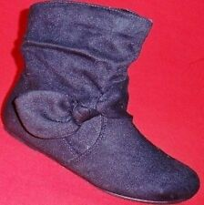 NEW Girl's Youth's SODA CHARLI Black Faux Suede Mid Casual Dress Fashion Boots