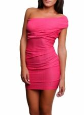 New Sexy Fuchsia One Side Sleeved Mini Dress - Sizes S-M-L-  Party- Prom- Club