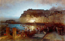 A4+ Size Print Achenbach Oswald Fireworks In Naples #jwnh4-1218