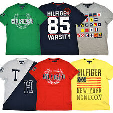 Tommy Hilfiger Graphic T-Shirts Mens Lot of 5 Tees Distressed All Colors P064