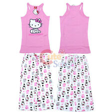 Hello kitty PJ Sleepwear Set  Top and Pink White Capri Pants Teen Woman-S to XL