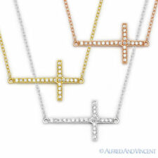 Sideways Cross Christian Charm Cubic Zirconia Crystal Sterling Silver Necklace