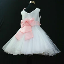 P668 Pink White Wedding Bridesmaid Flower Girls Party Dress 2-3-4-5-6-7-8-10-12Y