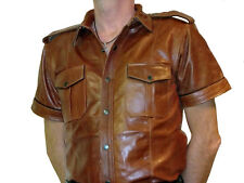 leather SHIRT new brown police shirt leather uniform XS S M L XL XXL XXL XXXL