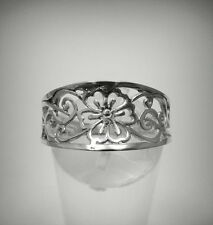 STERLING SILVER RING SOLID 925 FLOWER FILIGREE BAND NEW SIZE G - V
