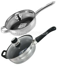 24CM 2.7 LTR INDUCTION NON STICK TEFLON SAUTE PAN FRYING FRY PAN WITH GLASS LID