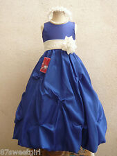 ROYAL BLUE IVORY BRIDESMAID PARTY FLOWER GIRL DRESS 2T 2 3 4 5 6X 6 7 8 10 12 14