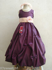 PURPLE PLUM PEACH PARTY GOWN FLOWER GIRL DRESS SIZE 2T 2 3 4 5 6X 6 7 8 10 12 14