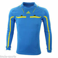ADIDAS MENS LONG SLEEVE REFEREE JERSEY SIZE S M L XL XXL SHIRT BLUE LINESMAN NEW