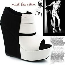 2 Style Black/White Stripe Split Joint Wedge Heels Platform Ankle Boots Shoes