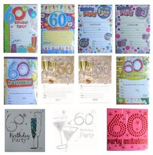 60th BIRTHDAY (Age 60) Party INVITATIONS & Envelopes - Large Range of Designs