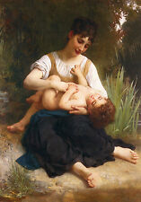 Art Print - Juene Fille Et Enfant Mi Corps - William Bouguereau 1825 1905