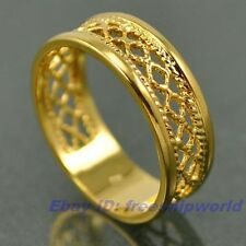 Size 6,7,8,9,10 Ring,REAL SPARKLING 18K YELLOW GOLD GP EMPAISTIC SOLID FILL GEP