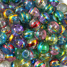 Mixed Colours 'OILY DRIZZLE' Glass DRAWBENCH Round BEADS - Choose 4mm, 6mm & 8mm