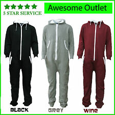 UNISEX MENS WOMENS JUMPSUIT HOODED ZIP ONESIE PLAYSUIT ADULTS ALL IN ONE PIECE