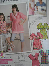 SIMPLICITY # 2437 - GIRLS SUPER CUTE (LEARN TO SEW) EASY BLOUSE PATTERN 3-14 uc