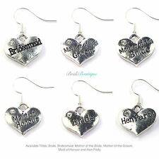 Wedding Hen Night Party Do Gift Favor Bag Fillers Silver Diamante Heart Earrings