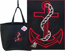 Nautical Ship Anchor & Rope Essential Boater Boat Tote Bag Custom Embroidered