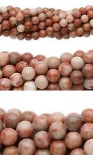 Lot of 10, 16 inch Strands Round Red Spot Stone Natural Marble Gemstone Beads