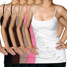 Solid Color Long Cami Tank Top Plain Basic Stretch Layering Tee Shirt Tunic M323