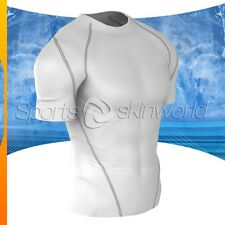 Mens Compression Plazma Skin Short Sleeve White/Silver Stripe R04W/S S ~ 2XL