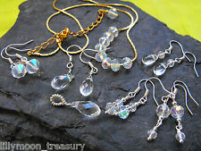 faceted glass crystal pendant earrings style 14 Rainbow coated AB pagan ethnic