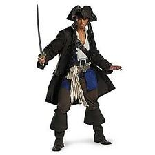 Mens Adult Pirates Of The Caribbean PRESTIGE Captain JACK SPARROW Costume