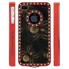 Apple iPhone 4 4S Gem Crystal Rhinestone Black Copper Spiders Leather case