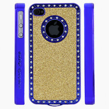 Apple iPhone 4 4S Gem Crystal Rhinestone Gold Glitter Shimmer Plastic case