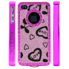 Apple iPhone 4 4S Gem Crystal Rhinestone Light Pink Love Cherries Plastic case
