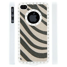 Apple iPhone 4 4S Gem Crystal Rhinestone White Grey Zebra Leather case