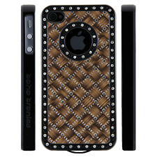 Apple iPhone 4 4S Gem Crystal Rhinestone Brown Silver Black Weave case