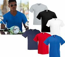 5 MENS V NECK FRUIT OF THE LOOM COTTON T SHIRTS, CHOOSE YOUR PACK COLOURS