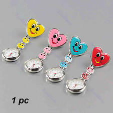 Nurse Clip On Fob Brooch Hanging Pocket Watch Fobwatch Heart Shape Smile Face