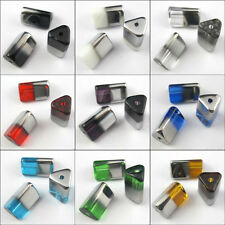 10Pcs Half-Silver Triangle Glass Spacer Beads Charms Jewelry Craft DIY 10x15mm