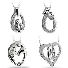 "Mothers and Child Pendant Necklace with Diamond in Sterling Silver + 18"" Chain"